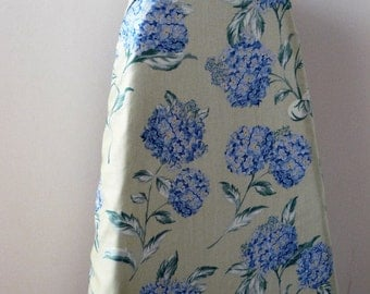 Ironing Board Cover - stunning blue hydrangers on sage green.
