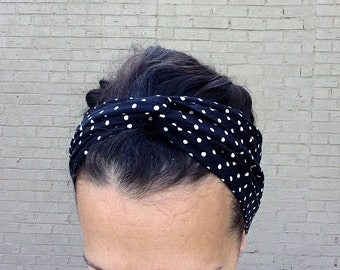 Hair scarf, head scarves, head scarf, dotted headband, black and white polka dot, headwraps for women, retro head wrap, turban headbands