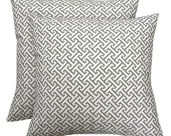 Two 18x18 Decorative Gray Waverly Greek Key Pillow Covers - Purchase With Or Without Pillow Forms
