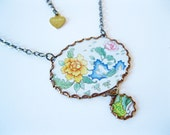 Asian Chrysanthemum Floral Flower Vintage Tin Statement Necklace, Gift for Her, Accessories