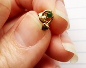 RESERVED FOR NITA B // Vintage Emerald Green with Gold Hearts Tiny Studs // 1980s