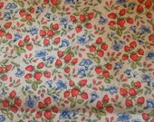 Vintage Strawberry Calico Fabric Quilting Cotton Strawberries Flowers Floral