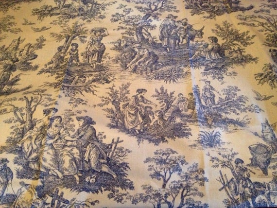 Waverly Toile Fabric Blue White Country Life Pastoral