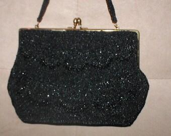Vintage Black Beaded Evening Bag Purse circa1940