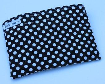 Reusable Sandwich Bag Reusable Snack Bag Eco Friendly Bag Black Polka Dot Bag