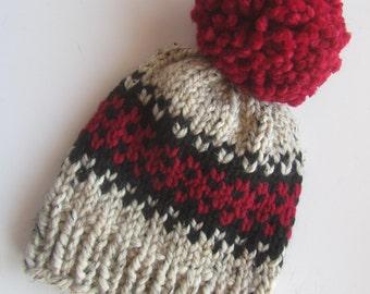 Fair Isle Hat, Knit Hat, Women's Knit Hat, Pom Pom Hat, Slouchy Hat, Winter Hat, Hand Knit Hat, Knit Hat, Chunky Knit Hat