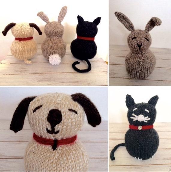 Beginner Knitting Patterns Stuffed Animals : Petting Zoo Stuffed Animal Toy Knitting PATTERN Easy