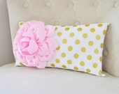Throw Pillow - Gold Pillow Cover - Gold Nursery Pillows - Gold Lumbar Pillow - Gold Cushions - Nursery Pillow Cover - Light Pink and Gold