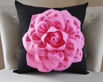 Home Decor, Bright Pink Dahlia Flower on Black 14 x 14 Pillow, Custom Decor, Black and Pink, Girls room Decor, Bedroom Art, Flower Decor