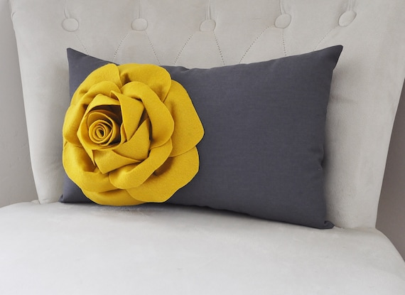 Grey and Mustard Yellow Rose Flower. Charcoal Gray Home Decor. Mustard and Gray Home Decor.  Gold and Gray Dark Gray Pillow. Mustard decor