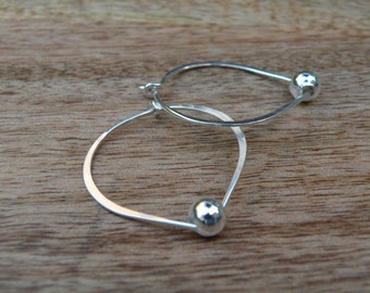 Blair   -   Sterling Silver Hoops With Accent Bead  -  Everyday Wear  - Go To Earrings  -  Sterling Silver