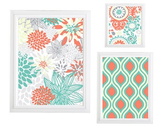Collage Wall Art Gallery - Set of (3) - Prints - Custom CHOOSE your own size!!! Flower power Grey Green White Art Wall unframed