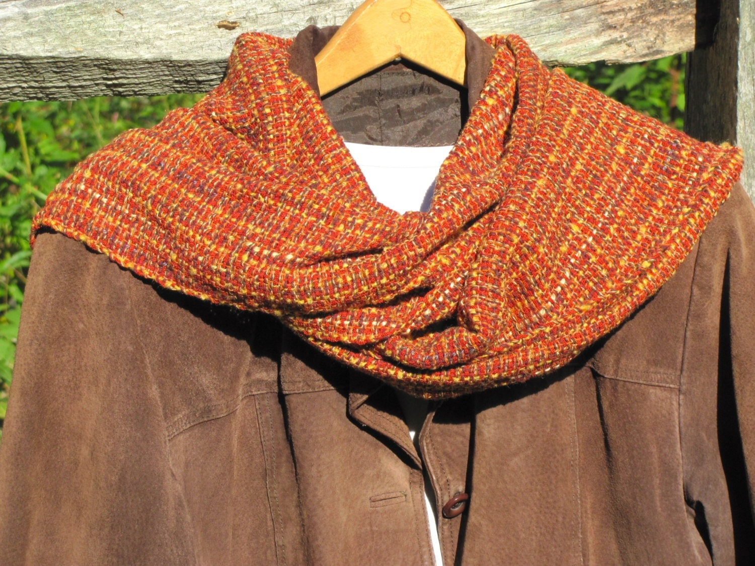 copper gold spice fall colors scarf rustic country cabin