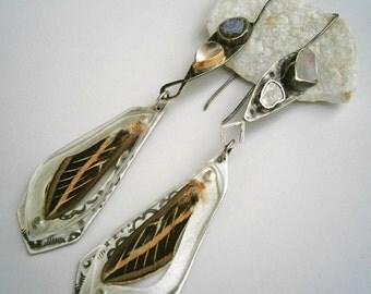 Diamond Slice/Raw Opal/Tabasco Geode Half/Rose Quartz Cabochon/Sphinx Moth Wing Specimen Contraption Earrings