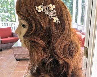 Rhinestone Pearl Comb, Pearl Wedding Accessory, Pearl Rhinestone Headpiece, Pearl Bridal Comb, Pearl Wedding Comb