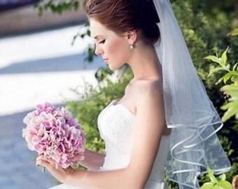 Two Tier Veil, Elbow Length Veil, Tulle Bridal  Veil, Tulle Wedding Veil, Blusher Bridal Veil, Blusher Wedding Veil, Lace Edge Veil,
