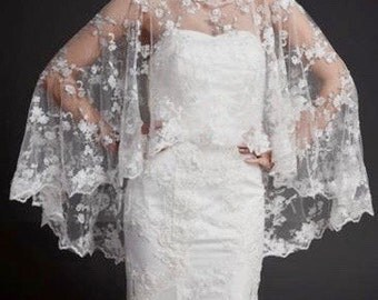 White Bridal Bolero, White Wedding Bolero, White Lace Bolero, Bridal Lace Bolero, Wedding Lace Bolero, White Bridal Shrug, White Bridal Wrap