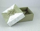 Price Slashed - 3x3 Origami Keepsake Box Handmade Sand and White Square 3 x 3 Paper Origami Gift Box