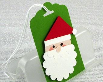 Christmas Gift Tags Handmade Santa Tags Santa Claus Ornaments Your Choice of One Three or Eight Tags