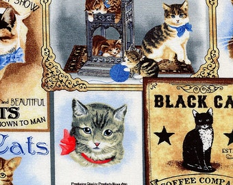 Victorian Cats - Timeless Treasures - 1 yard - More Available - BTY