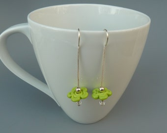 Silver Threader Earrings, Lampwork Threader Earrings, Lightweight Earrings, Flower Earrings, Delicate Earrings, Lime Green, Gift For Her