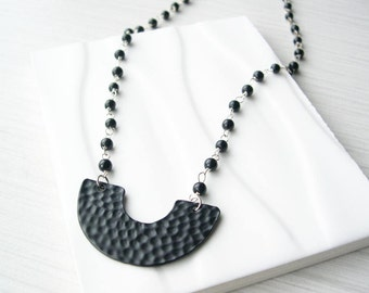 Black Bib Necklace - Modern Jewelry, Trendy, Vintage Beaded Chain, Crescent, Silver, Simple, Hammered Metal, Glass