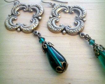 Quatrefoil Earrings - Bohemian Earrings - French Jewelry - Bohemian Jewelry - Dangle Earrings - Moroccan Quatrefoil - Vintage Style Jewelry