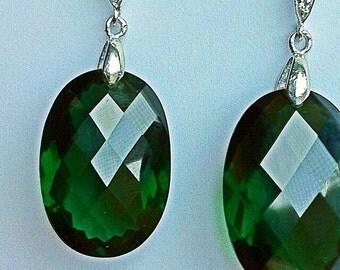 Sale Luxury Green Amethyst Earrings. Sterling Silver Pave Earwires