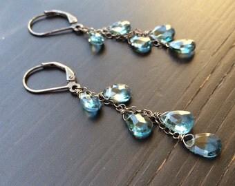 Sale Earrings London Blue Topaz. Oxidized sterling silver. December birthstone