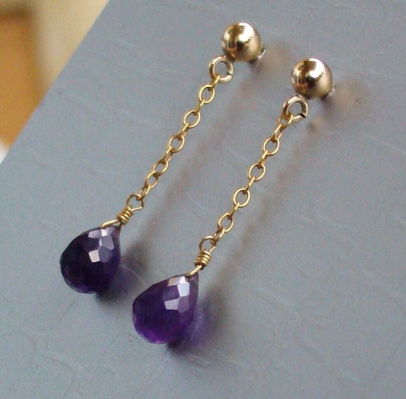 Purple Amethyst Goldfill Earrings. February birthday stone