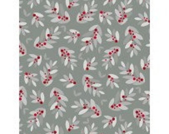 Modern Holly on Gray - Alpine from Wilmington Prints - Full or Half Yard Holly Toss on Gray