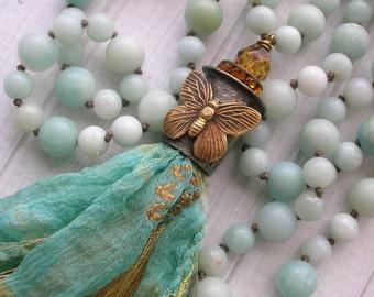Butterfly tassel necklace - Sunshine Butterfly - long necklace bohemian jewelry, artisan soldered jewelry, boho jewelry, baby blue aqua