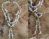 ON SALE Handmade / Fresh Water Pearl / Double Layered / Crystals / Green and Gold / Murano Glass / Hand Strewn / Necklace