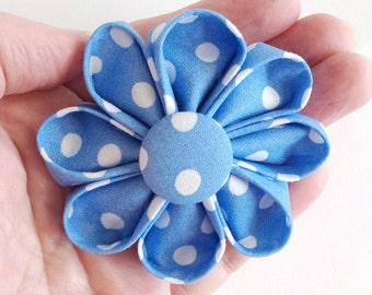 Blue Polka Dots Hair Clip - Kanzashi Flower for Hair