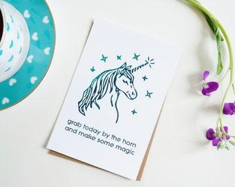 Unicorn Print - Unicorn Horn Home Decor - Unicorn Decorations - Inspirational Desk Decor - Turquoise Home Decor