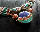 Statement Necklace,Turquoise Lapis & Coral Necklace, Nepal Jewelry,Tibetian Necklace,Antique Sterling Silver Jewelry by Taneesi