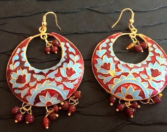 Red Enamel Earrings,Red and Blue Chand Bali, Lotus Earrings Dangle Chandelier Jaipuri Earrings,Indian Jewellery Taneesi