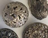 Antique Silver Metal Buttons Pewter Filigree Floral Leaf Design