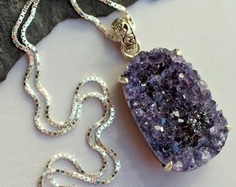 Grape Ice - Raw Freeform Amethyst Druzy Geode Sterling Silver Necklace