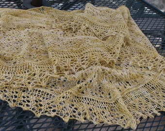 Yellow Gold Summer Breeze Lightweight Pure Merino Wool Crescent Shaped Lace Shawl