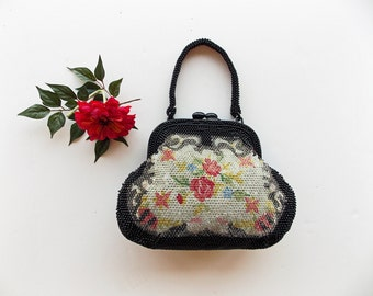 Vintage 1940s Unique Beaded Floral Handbag ---  Clear and Black Lucite Beads Over Floral Print