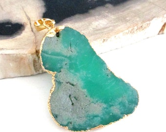 Chrysoprase Pendant - Green Flat Pendant Electroplated Gold - Semiprecious Stone Teardrop - Gold Green Chrysoprase - DIY Jewelry Making