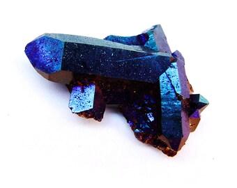 Royal Blue Cobalt Flame Aura Quartz Arkansas Crystal Cluster THIRD EYE b1