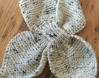 Ascot scarf hand knitted keyhole scarf in cream beige fleck