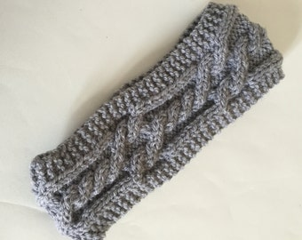 hand knitted headband earwarmer graywith wool uk seller