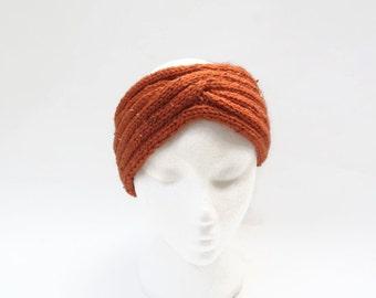 women  headband  burnt orange   knitted ear warmer Turban ear warmer