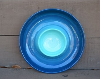 Turquoise Ombre Ceramic Chip and Dip Serving Tray - Bright Colorful Gradient Design - Shades of Teals