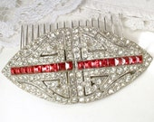 Antique 1920s Ruby Red Hair Comb OR Bridal Sash Brooch, Vintage Art Deco Crystal Rhinestone Duette Dress Clip Gatsby Wedding Large Hairpiece