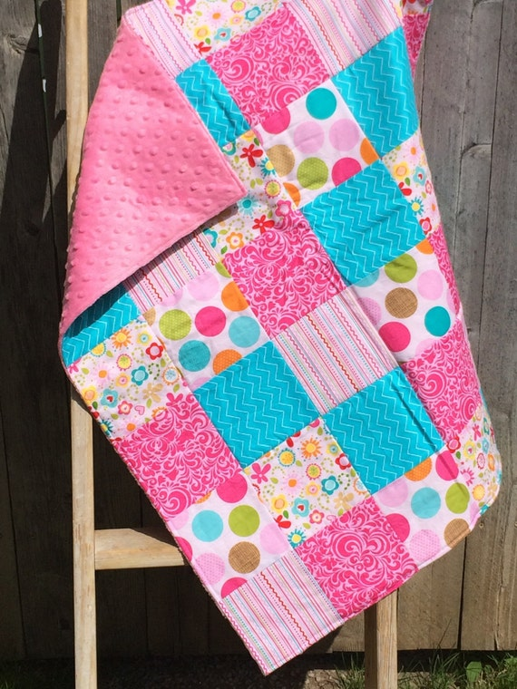 Items similar to Minky Patchwork BABY Blanket on Etsy