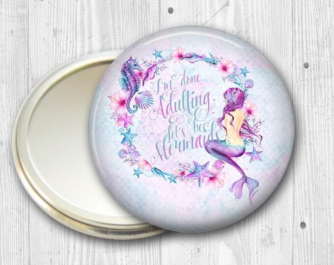 mermaid pocket mirror - beachy fashion accessory - beach themed bridesmaid gift, stocking stuffer - mermaid sayings - MIR-BCH-1